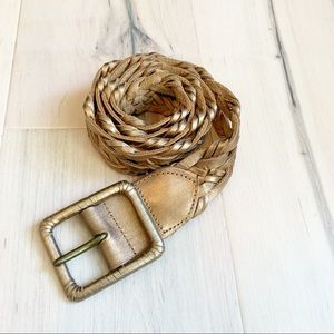 HOLLISTER leather braided womens belt Sz XS/S EUC